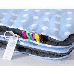 Mamo-tato komplet kocyk minky do wózka + poduszka grochy niebieskie / szary