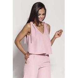Różowa zwiewna bluzka-top wiązana na ramionach marki Dursi