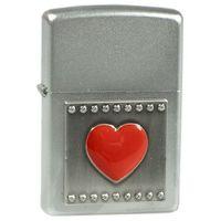 Zippo Zapalniczka  serce czerwone, emblemat satin chrome