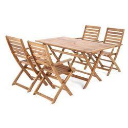 Zestaw mebli ogrodowych z drewna egzotycznego Akacja Cross 4+1, kup u jednego z partnerów