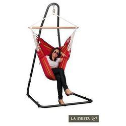 La siesta Zestaw hamakowy: fotel hamakowy currambera ze stojakiem mediterraneo, czerwony cuc14mea12
