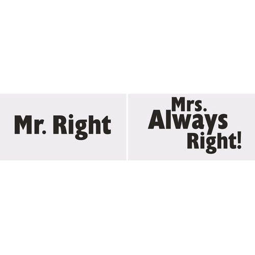 Tabliczki Mr. Right/Mrs. Always Right!, 1op. Ślub. (galanteria ślubna)