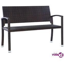 Vidaxl ławka ogrodowa, 122 cm, polirattan, brązowa (8718475609827)