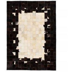 Vidaxl Dywan ze skóry, patchwork w kwadraty, 80x150 cm, czarno-biały