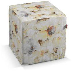 Dekoria Pufa kostka twarda, żółto-szare kwiaty na białym tle, 40x40x40 cm, Acapulco, kolor biały