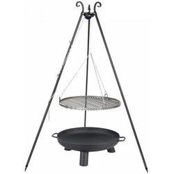 Grill  na trójnogu z rusztem ze stali nierdzewnej 70cm czarny + palenisko ogrodowe pan 37 80cm marki Farmcook