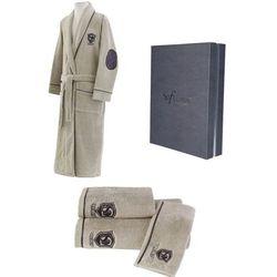 Męski szlafrok LUXURY + ręczniki + pudełko S + ręczniki + pudełko Beżowy