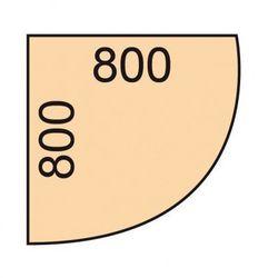 Narożna dostawka do stołu biurowego, 80 x 80 cm, biały/dąb naturalny marki B2b partner