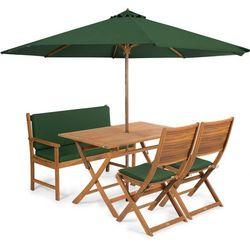 meble ogrodowe emily 4l + poduszki + parasol, zielone marki Fieldmann