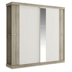 Szafa adalrik - podwójne drzwi przesuwne - dł.231 cm - kolor: dąb i kość słoniowa marki Vente-unique
