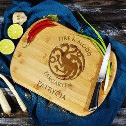Mygiftdna Fire&blood - deska do krojenia z grawerem - deska bambusowa