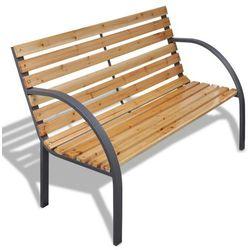 vidaXL Drewniana ławka z żelazną ramą