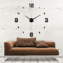 Duży zegar ścienny 3D czarny KLASYCZNY czarny większa niż 50 cm, kolor czarny