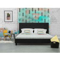 Łóżko czarne - 160x200 cm - łóżko tapicerowane - stelaż - LA ROCHELLE - produkt z kategorii- Łóżka