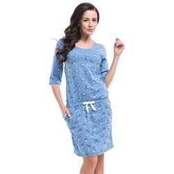 Koszulka nocna w kwiatuszki  8035, blue melange - niebieski od producenta Dobranocka