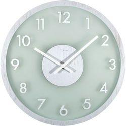 Zegar na ścianę Frosted Wood Nextime biały, kolor biały