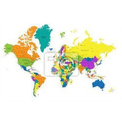 Fototapeta Kolorowa mapa świata politycznego z wyraźnie oznakowanych, oddzielnych warstwach. Ilustracji wektorowych., Redro z REDRO