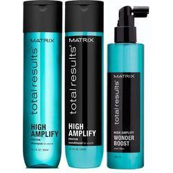 Matrix Zestaw Matrix Total Results High Amplify: Szampon nadający objętość 300ml + Odżywka nadająca objętość włosom cienkim i delikatnym 300ml + Wonder Boost Root Lifter – Płyn odbijający włosy u nasady 250ml
