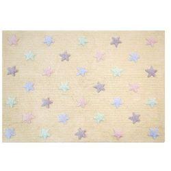 Lorena canals Dywan do prania w pralce: tricolor star - vanilla (120x160 cm), kategoria: dywany dla dzieci
