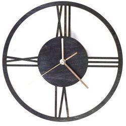 Congee.pl Drewniany zegar na ścianę rzymskie cyfry ze złotymi wskazówkami (5907509932335)