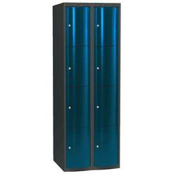 Ekskluzywne szafy osobiste 2x4 schowkim Kolor drzwi: Niebieski metalizowany, towar z kategorii: Szafy i witryn