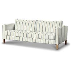 Dekoria Pokrowiec na sofę Karlstad 3-osobową nierozkładaną, krótki, ecru tło, niebieskie paski, Sofa Karlstad 3-osobowa, Avinon