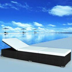 vidaXL Leżak z poduszką, 195 x 60 31 cm, polirattan, czarny (8718475502821)