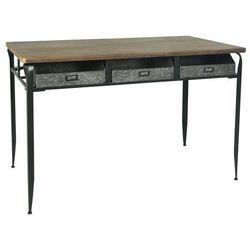 Ib Laursen - Stół - biurko z drewnianym blatem i 3 metalowymi szufladami
