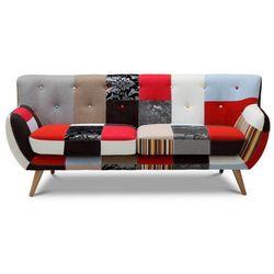 Sofa 3-osobowa SERTI - Tkanina patchworkowa w odcieniach czerwieni/czerni, kolor czerwony