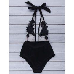 Halter Voile Spliced Floral Pattern Backless Women's Swimwear ()