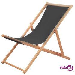 vidaXL Składany leżak plażowy, tkanina i drewniana rama, szary