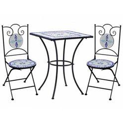 Elior Niebiesko-biały 3-cz. mozaikowy zestaw mebli – farren