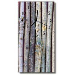 Zegar Szklany Pionowy Natura Patyki drewno szary, kolor szary