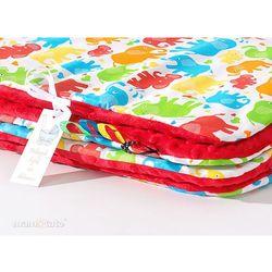 Mamo-tato komplet kocyk minky do wózka + poduszka słonie kolorowe / czerwony