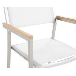 Beliani Zestaw ogrodowy szklany blat 180 cm 6-osobowy białe krzesła grosseto