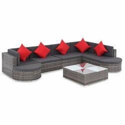 8-częściowy zestaw ogrodowy ze stolikiem szaro-czerwony - Bero 8C