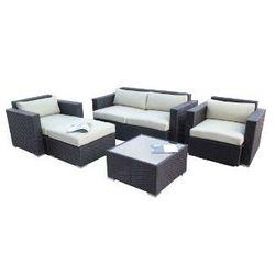 Inspirowane Zestaw mebli ogrodowych czarny technorattan, white poduszki, kategoria: zestawy ogrodowe
