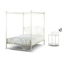 Komplet sypialnia imperatrice - łóżko z baldachimem 160 × 200 cm i 2 stoliki nocne - metal o wyglądzie kutego żelaza marki Vente-unique