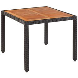 stół do ogrodu, rattan pe i drewno akacjowe, 90x90x75 cm marki Vidaxl