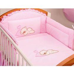 MAMO-TATO pościel dla niemowląt 3-el Śpiący miś w różu do łóżeczka 60x120cm