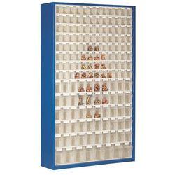 Szafa magazynowa z blachy stalowej, z 154 przezroczystymi składanymi skrzynkami, marki Unbekannt