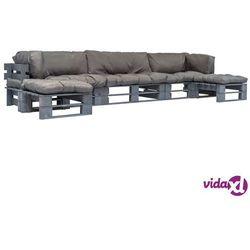 vidaXL Ogrodowe meble z palet, 6 szt., drewno FSC + szare poduszki (8718475728047)