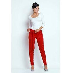 Czerwone Stylowe Spodnie z Wiązaną Szarfą, kolor czerwony