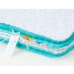 kocyk minky dla dzieci 100x135 mini gwiazdki szare na bieli / turkus marki Mamo-tato