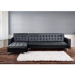 Sofa czarna - kanapa - skórzana - rozkladana - naroznik - ABERDEEN - oferta [653fdd4af34fe669]