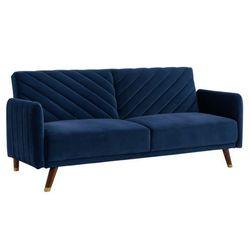 Rozkładana sofa 3-osobowa clic-clac — z weluru — joris — granatowa marki Vente-unique