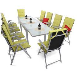 Home&garden Meble ogrodowe aluminiowe orlando basic silver / black 10+1 z poduszkami barbados 8 (5902425325001)