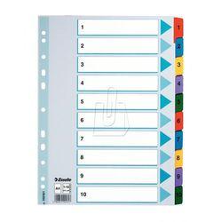 Przekładki ESSELTE MYLAR kartonowe 1-10 A4 numeryczne, ES171