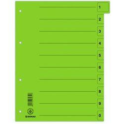 Przekładki DONAU, karton, A4, 235x300mm, 0-9, 10 kart z perforacją, zielone