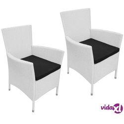 vidaXL Krzesła ogrodowe, 2 szt., Rattan PE, Kremowe